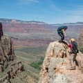 Scrambling (carefully!) up for a better view.- Bright Angel Trail Day Hike