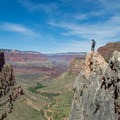 Dropoffs like this are not required on the trail, but they are easy to reach for the more adventurous.- Bright Angel Trail Day Hike
