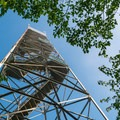 Looking up at the fire tower.- Gile Mountain