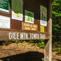 The sign at the trailhead.- Gile Mountain