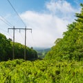 The view looking down the power lines as the trail crosses.- Gile Mountain