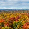 The tower offers spectacular views of fall foliage.- Gile Mountain