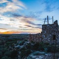 """Old stone structures like this dot the landscape. This one sits atop a cavern in the limestone that may be the famed """"Apache Death Cave.""""- Two Guns Ghost Town"""