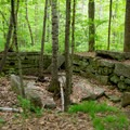 An old foundation along the snowmobile trail.- Sculptured Rocks Natural Area