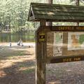 A kiosk near the swimming area.- Schreeder Pond