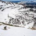 Skiing off of the summit.- Reids Peak
