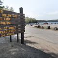 The parking entrance to the boat launch.- Mansfield Hollow State Park