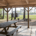 View from the pavilion out to the fields.- Mansfield Hollow State Park
