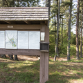 A kiosk by the fields in Mansfield Park.- Mansfield Hollow State Park