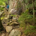 Taking a breath at the first ladder.- Beech Cliff Trail