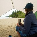 Enjoying the solitude of an early season visit to Echo Lake Beach.- Echo Lake Beach