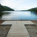 The ADA-accessible platform at the water's edge.- Echo Lake Beach