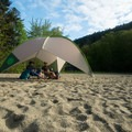 There isn't much shade on the beach.- Echo Lake Beach