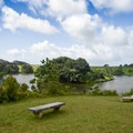 The view of the lake is serene.- Ho'omaluhia Botanical Gardens