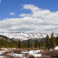Snow hangs around into the late spring and early summer.- Blue Lakes Trail