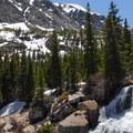 A waterfall near Blue Lake.- Blue Lakes Trail