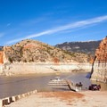 The Barry's Landing boat ramp with a low lake level.- Bighorn River: Barry's Landing to Lower Layout Creek Canyon