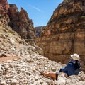Exploring the Layout Creek side-canyon.- Bighorn River: Barry's Landing to Lower Layout Creek Canyon