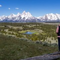 The Tetons from Hedrick Pond overlook.- Hedrick Pond Overlook