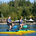Guests enjoying hydrobikes, offered out at the Waterfront Center.- Alderbrook Resort + Spa