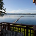 The view from a waterfront room.- Alderbrook Resort + Spa