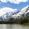 Looking southwest across String Lake to the heart of the Tetons.- Leigh Lake Trail