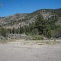 A gate marks where the trail leaves the old road near Floriston.- Tahoe-Pyramid Bikeway: Farad to Floriston