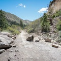 The trail near Floriston traces an old access road that has been made unusable for vehicles due to landslides.- Tahoe-Pyramid Bikeway: Farad to Floriston