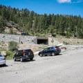 Parking area at the Farad Interstate 80 offramp.- Tahoe-Pyramid Bikeway: Farad to Floriston