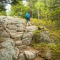 Bedrock lines much of the trail.- Beech Mountain Fire Tower