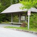 The Island Explorer Shuttle stop is near the entrance to Acadia National Park.- Blackwoods Campround