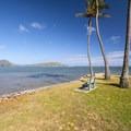 Kawaiku'i Beach Park with view east over Maunalua Bay toward Koko Crater (left) and Koko Head (right).- Kawaiku'i Beach Park