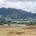 View southwest from Kaiaka Bay Beach Park of Ka'ala (4,025 ft) in the Wai'anae Range and O'ahu's highest peak.- Kaiaka Bay Beach Park + Campground