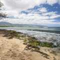 View west from Pua'ena Point Beach Park.- Hale'iwa Beach Park + Pua'ena Point Beach Park