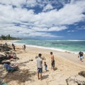 The small section on the east end of Laniakea Beach known as Turtle Beach.- Laniakea Beach + Turtle Beach