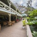 The visitor center and cafe at Waimea Valley.- Waimea Valley Botanical Garden + Cultural Center