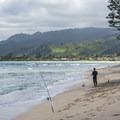 Fisherman at Mālaekahana State Recreation Area Campground.- Mālaekahana State Recreation Area Campground