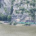 CSX trains at the base of Storm King Mountain.- Breakneck Ridge