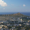 View south to Waikīkī and Diamond Head (762 ft) from Tantalus Lookout (1,048 ft).- Tantalus Lookout