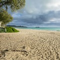 View looking north from Waimanalo Bay Beach.- Waimanalo Bay Beach Park Campground