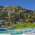 View back up at Ka'iwa Ridge.- Lanikai Beach