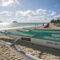 Outriggers on Lanikai Beach with the Mokulua Islands (Moku Nui at left and Moku Iki at right) in the distance.- Lanikai Beach
