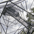 Looking up the 90-foot tower.- Ninham Mountain Fire Tower