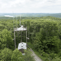 Looking down at a cell tower.- Ninham Mountain Fire Tower