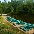 Paddleboat and kayak rentals are available at the Main Lodge.- Paris Mountain State Park