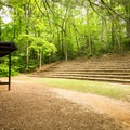 The outdoor amphitheater that hosts solar-powered music events.- Paris Mountain State Park
