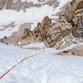 The setup of a 200-foot rappel from the summit.- Mount Whitney: Winter Mountaineers Route