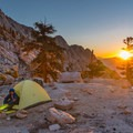 Camping above Lower Boyscout Lake.- Mount Whitney: Winter Mountaineers Route
