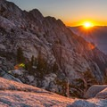 Sunrise above Lower Boyscout Lake.- Mount Whitney: Winter Mountaineers Route