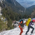 The North Fork completely covered by snow.- Mount Whitney: Winter Mountaineers Route